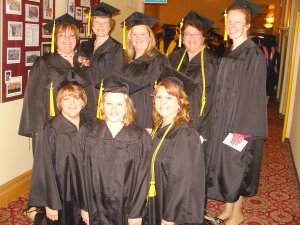 Nursing students at Commencement on May 10, 2009 from L-R Back Row: Kathy Barta-Orlet, Barb Reiss, Marcy Davies, Darlene TeStroete, Front Row: Nancy Niesing, Sue Kassner, January Meyer, Jackie Downey