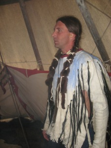 Image caption: Kelly Meyer in full Lakota garb.